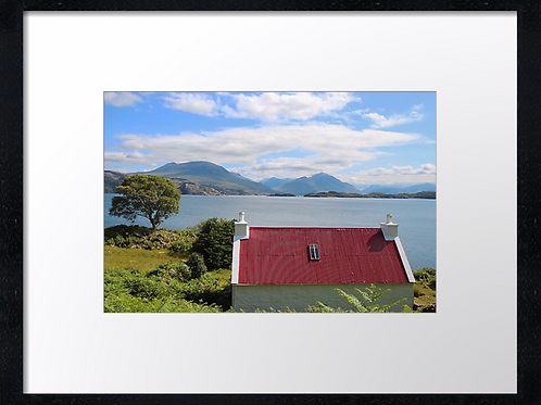 Red roof cottage  40cm x 30cm framed print or canvas pri