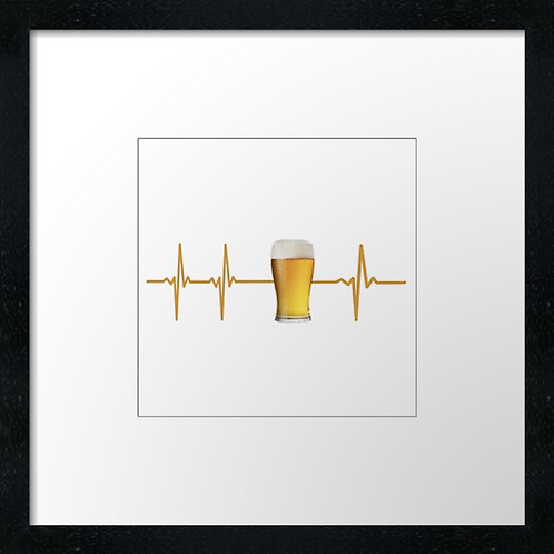 "Beer heart Print or canvas print Example shown is 10"" Framed prin"