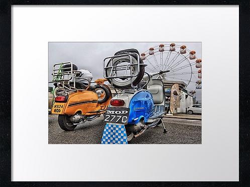Scooter beach (2) 40cm x 30cm framed print, canvas print or A4, A3 moun