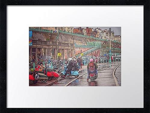Brighton mods (2) 40cm x 30cm framed print, canvas print or A4, A3 moun