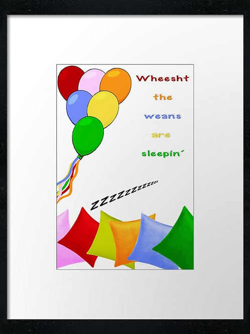 Wheest, Weins sleeping  40cm x 30cm framed print or c