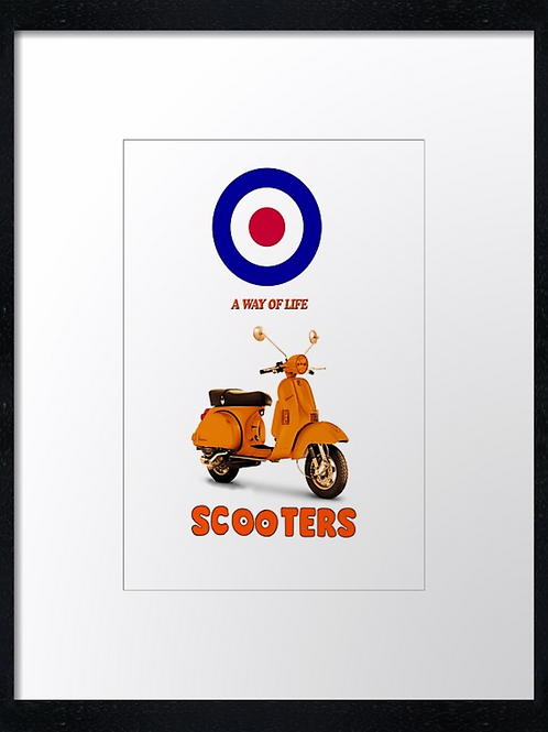 Scooters! 40cm x 30cm framed print, canvas print or A4, A3 m