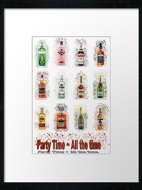 Party time 12 bottles Splatter,  example shown 40cm x 30cm framed print