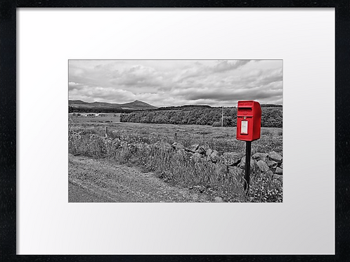 Bennachie red post box 40cm x 30cm framed print or canvas pri