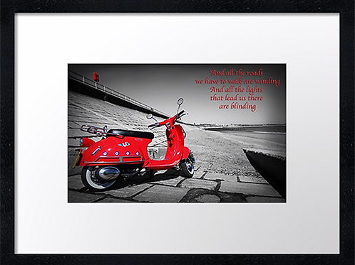 Red Scooter (2) 40cm x 30cm framed print, canvas print or A4, A3 mounted pri