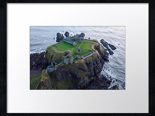 Dunnottar castle drone picture (2)  40cm x 30cm framed print or canvas p