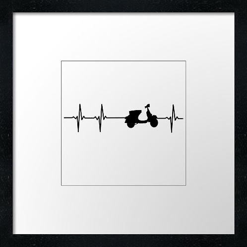 "Scooter heart Print or canvas print Example shown is 10"" Framed prin"
