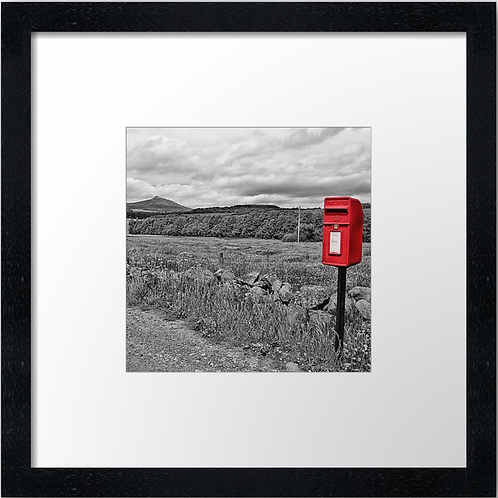 """Famous Bennachie, Red post box (Square) (Example shown 10"""" Framed print £21.50)"""