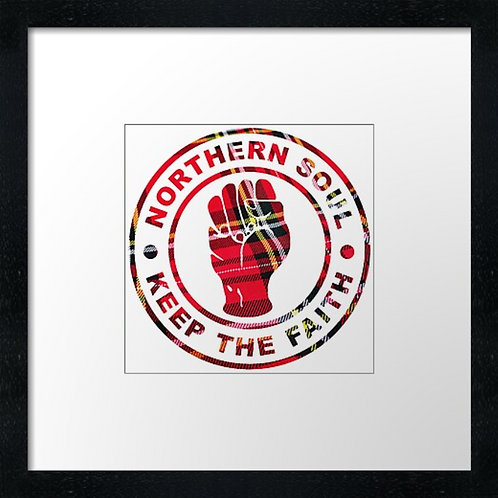 "Tartan Northern Soul Fist Print or canvas print Example shown is 10"" Framed pri"