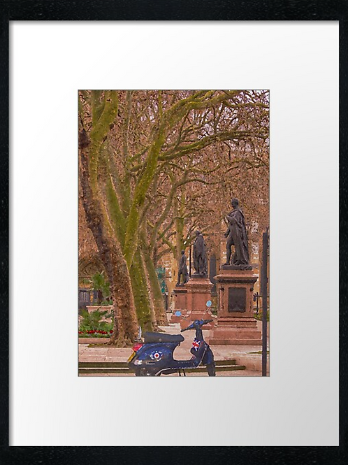 Scooter at Westminster 40cm x 30cm framed print, canvas print or A4, A3 mount