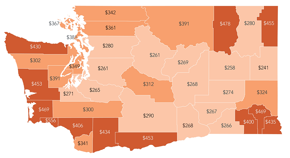 Map of the average monthly amount Washington Residents receive in federal subsidies