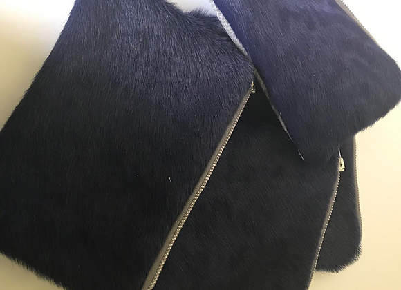 Kai leather pouch Grey/Navy Blue