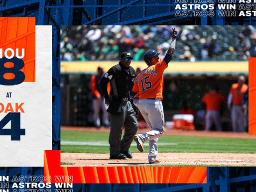 Astros Defeat Oakland To Take Over Sole Possession Of First Place In A.L. West