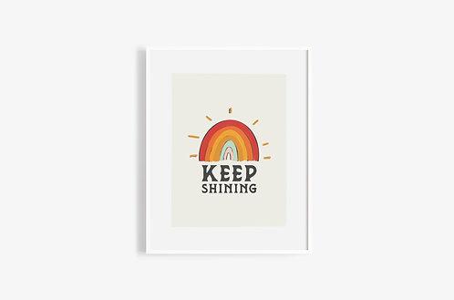 KEEP SHINING Retro Rainbow Print