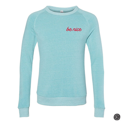 Be A Nice Human Crew Sweatshirt - Aqua