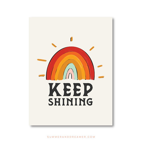 RETRO KEEP SHINING NOTECARD - Folded