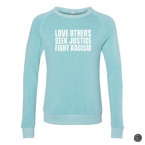 SEEK RACISM Crew Sweatshirt - Aqua