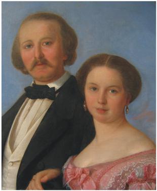 J. Mánes (?), Portrét Mary a Augusta Felsových