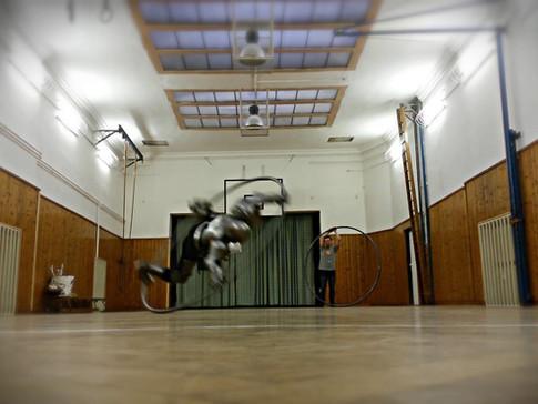 První světový pokus o skutečně bezpečnou akrobacii v kruhu. Ochrana váží 40 kg.