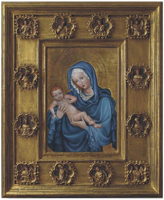 kopie s replikou rámu Madony svatovítské