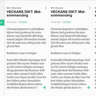 """Poem """"Midsommarsång"""" is Poem of The Week in Mitt i Stockholm"""