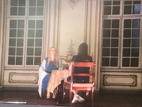 TV #Łańcut interviewing @AlexHummingson on the Łańcut Castle theatre stage