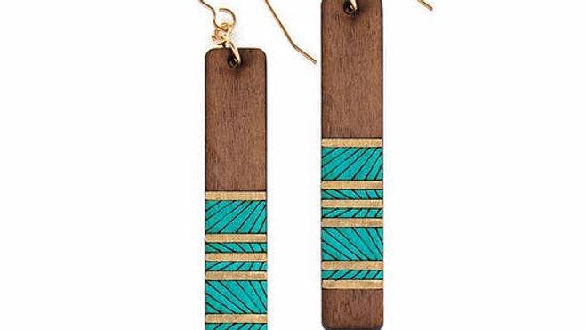 Long Brown Wood Earrings