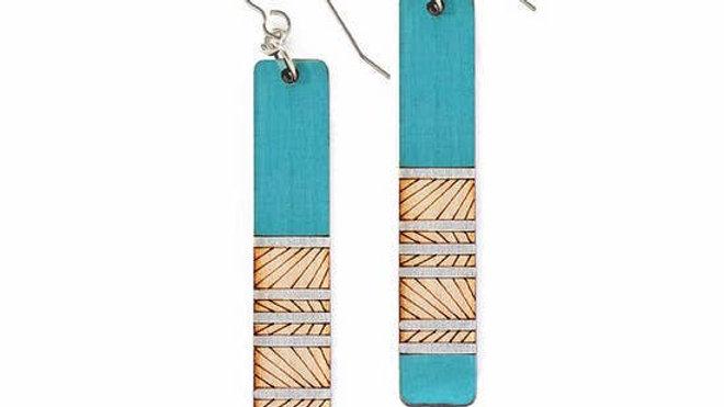 Long Blue Wood Earrings