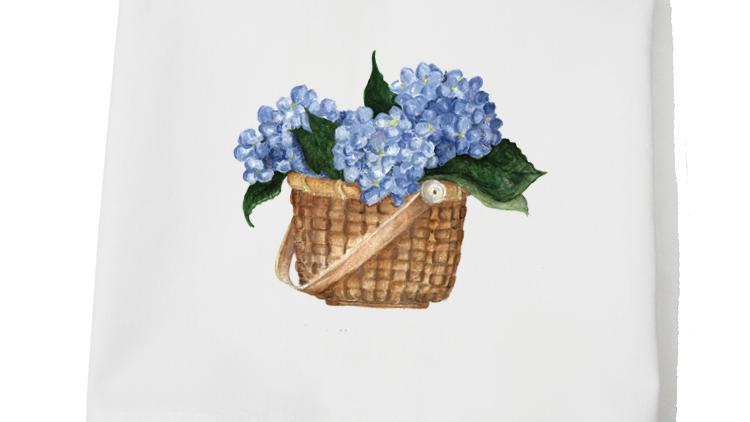 Hydrangea Basket Flour Sack Towel
