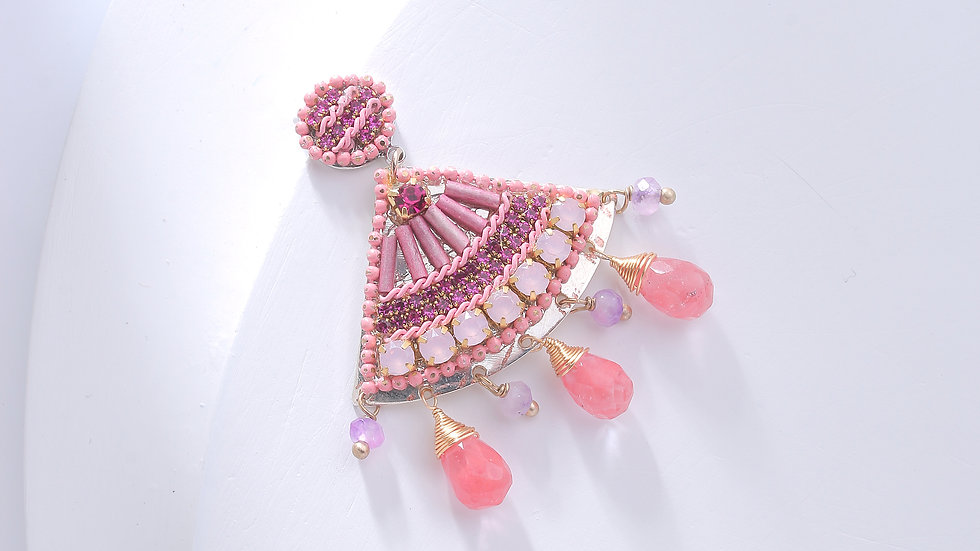 Pink Fan Beaded Earrings