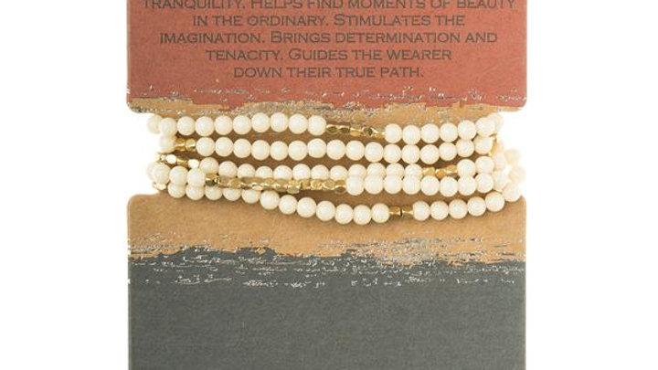 White Fossil Jasper Wrap Bracelet