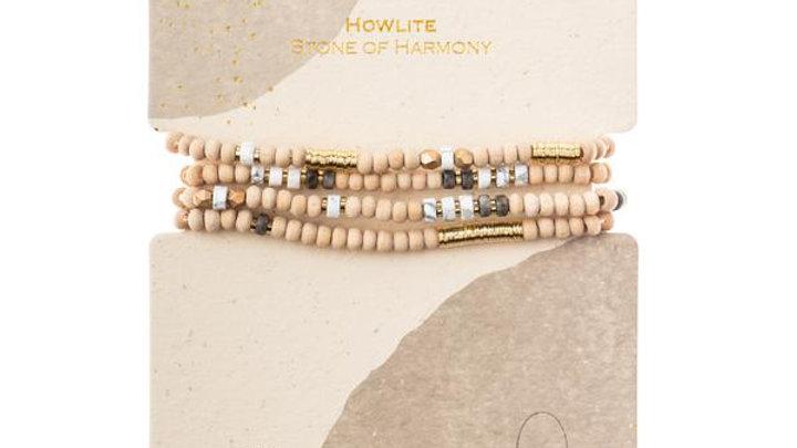 Wood & Howlite Wrap Bracelet