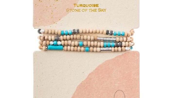 Wood & Turquoise Wrap Bracelet