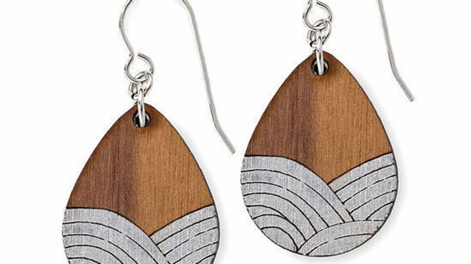 Wood Wave Earrings -Silver