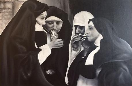 black and white nuns snoking