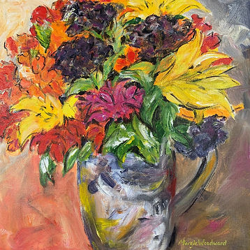 Colourful vase of summer flowers painting
