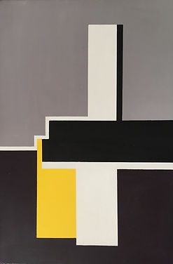 black white yellow abstract painting