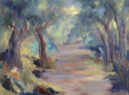 Bush path oil painting