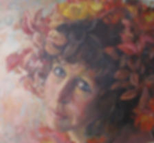lady flowers in hair oil painting