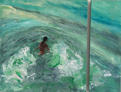 girl surf waves beach painting