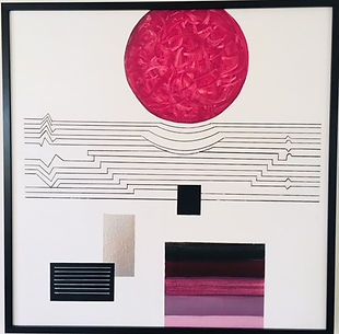 Abstract red moon painting