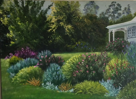 old nz homestead garden oil painting