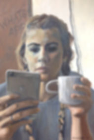girl texting portrait oil