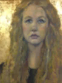 girl portrait oil gold