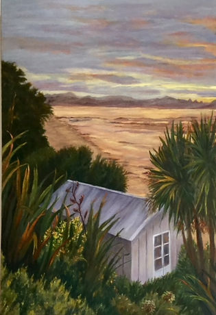 kiwi bach oil painting