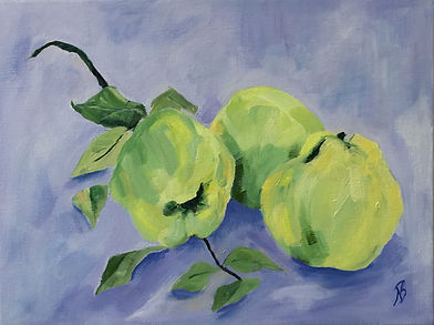 Quinces still life painting