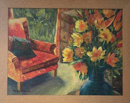 Chair and vase of flowers still life