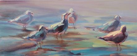 seagulls sea shore painting