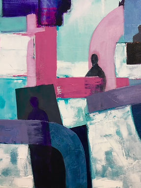 abstract painting pink blues