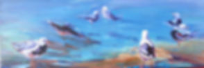 seagulls sea shore painting